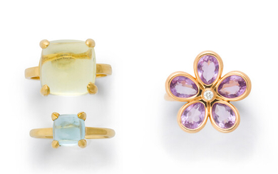 A group of gemstone and eighteen karat gold rings, Tiffany & Co.