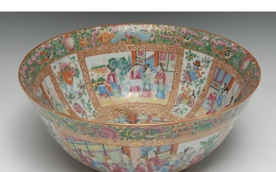 A large Cantonese circular punch bowl, profusely painted in ...