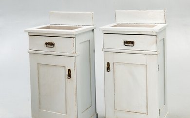 A pair of painted bedside tables first half of the 20th century