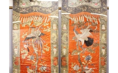 AN IMPRESSIVE PAIR OF CHINESE EMBROIDERED SILK PANELS, each ...
