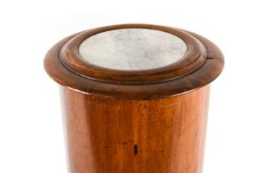 ANTIQUE MARBLE TOP ROUND SIDE TABLE/CABINET