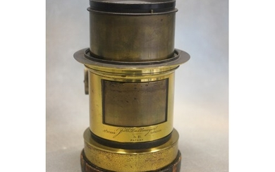 """An Early 20th century brass Petzval camera lens, by """"Dallmey..."""