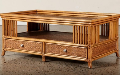 BAMBOO AND WICKER TWO DRAWER COFFEE TABLE