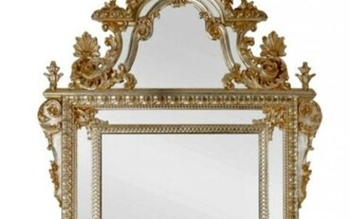 BAROQUE ITALIAN SILVERED CARVED WOOD MIRROR