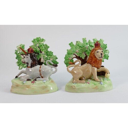 Beswick Lion and Unicorn models : Pair of Staffordshire Lion...