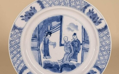 Blue & White Figural Plate with Kangxi Mark