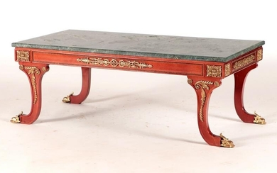 CARVED GILT MARBLE TOP TABLE FRENCH EMPIRE