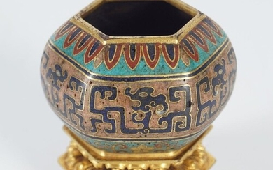 CHINESE CLOISONNE ENAMEL WATER POT