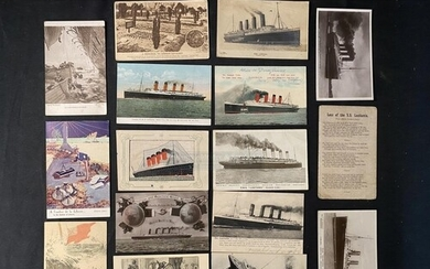 CUNARD: R.M.S. Lusitania postcards to include unusual bas-re...