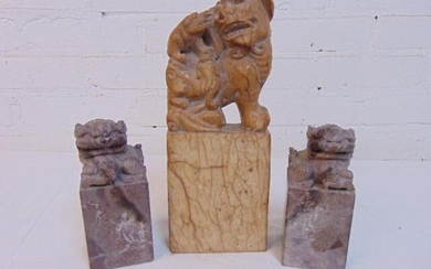Carved soapstone seal & foo dogs, large carved seal