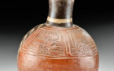 Chimu Bichrome Pottery Vessel w/ Abstract Incised Motif