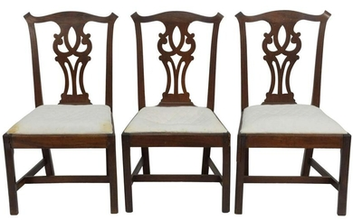 Chippendale Mahogany Side Chairs, set of three with