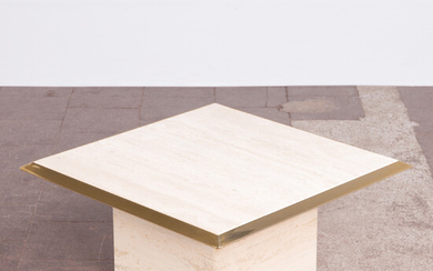 Coffee table / end table, travertine, brass, 1970s.