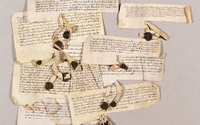 Collection of 20 deeds. End of 13th c.-14th c Various sizes, on vellum, in Latin,...