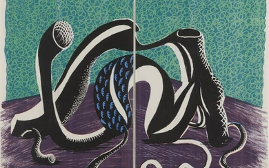 David Hockney OM CH RA, British b.1937- Extending February (diptych), 1990; 'home-made' print in colours on two sheets of Arches laid, signed, dated and numbered 28/50 in pencil, published by the artist, commissioned by the Prints and Drawings...