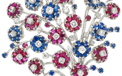 Diamond, Ruby, Sapphire, White Gold Brooch, French Stones: Full-cut...
