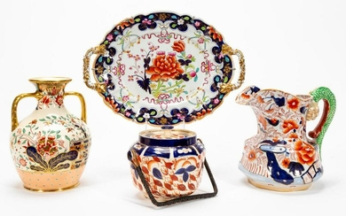 ENGLISH IMARI POTTERY & CONTEMPORARY JUG, 4 PCS