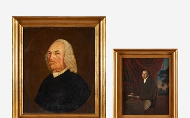 English School 18th century Two Works: Portrait of a Reverend and Small Portrait of a Gentleman Seated in His Library, circa 1795