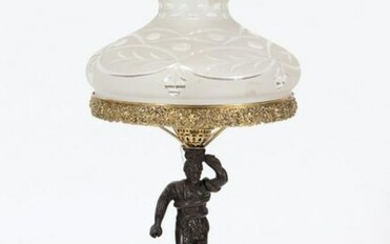 FIGURAL BRONZE TABLE LAMP ETCHED GLASS SHADE 1900