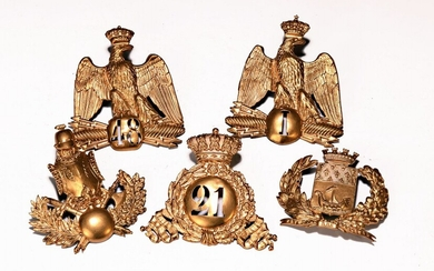 Five appliqués, France, 19.th c., sheet brass,secondary lacquered...