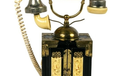Chinese French Style Lacquer Rotary Dial Telephone