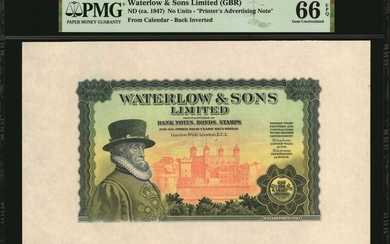 GREAT BRITAIN. Waterlow & Sons Limited. Printers Advisory Note, ND (ca.1947). P-Unlisted. PMG Gem Uncirculated 66 EPQ.