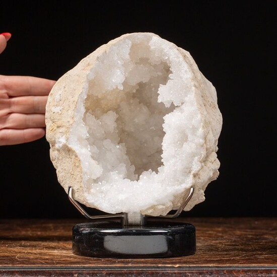 Geode Calcite on a marble design base