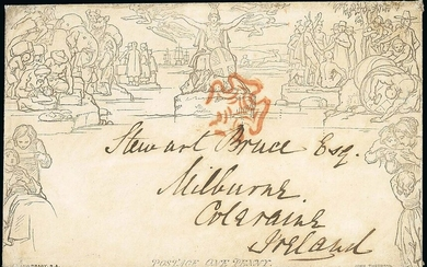 Great Britain 1840 Mulready May Dates 6 May, 1d. A147 lettersheet from London to Coleraine, Ire...