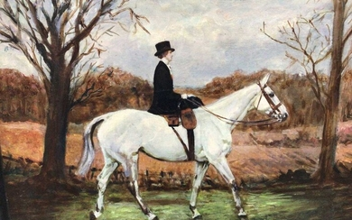 J. Whitmore early 20th Century, oil on canvas, A lady riding side-saddle on a grey hunter, signed. 34 x 44cm