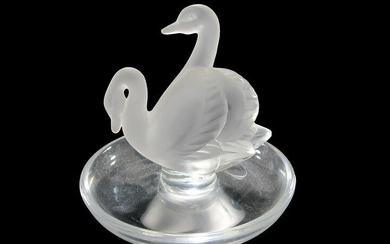 Lalique, France swan trinket ring frosted glass dish