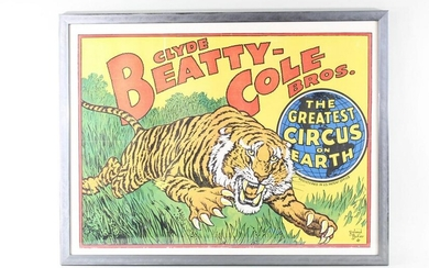 Metal Framed Clyde Beatty-Cole Bros Circus Tiger Poster