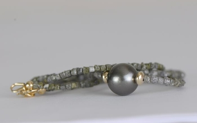 No Reserve Price - 14 kt. Yellow gold - Necklace - Tahitian pearl 10.1 mm and rough diamonds