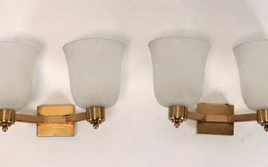 PAIR FRENCH BRASS GLASS WALL SCONCES ATTR. PERZEL