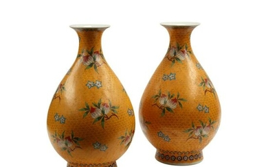 Pair of Chinese Cloisonne on Porcelain Vases.