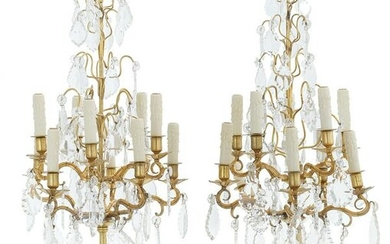 Pair of French Bronze and Crystal Candelabra