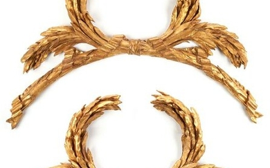 Pair of Large Architectural Carved Gilt Garland Swags