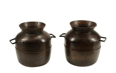 Pair of Large Hammered Copper Vessels.