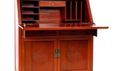 (-), Rosewood flap desk with carved decor, 111...