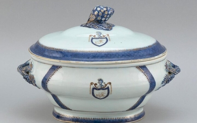 RARE THOMAS JEFFERSON ARMORIAL CHINESE EXPORT PORCELAIN COVERED SOUP TUREEN
