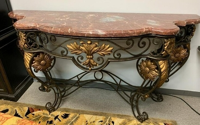 """REGENCY STYLE WROUGHT IRON GILT CONSOLE TABLE 74"""""""