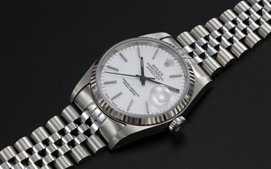 ROLEX, STEEL OYSTER PERPETUAL DATEJUST WITH PORCELAIN WHITE DIAL, REF. 16234