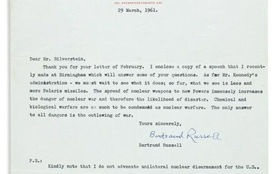 """RUSSELL, BERTRAND. Typed Letter Signed, to """"Dear Mr."""
