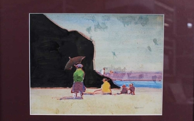 Robert G. D. Alexander (1875-1945) watercolour and oil on board - The Black Rock, signed, 22cm x 29cm, in glazed frame