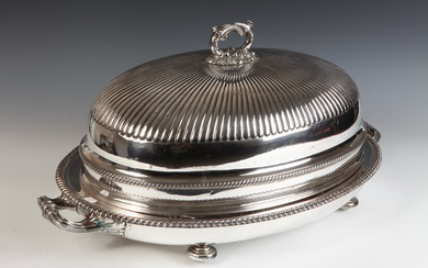SILVER-ON-COPPER GEORGE III DOMED PLATTER COVER OVER OVAL WELL-AND-TREE PLATTER...