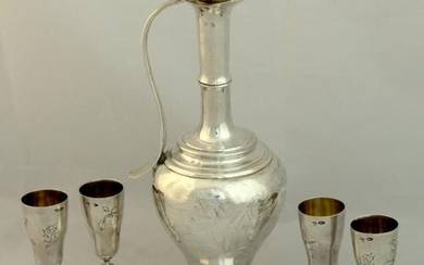 Set – 4 silver cups, Carafe.