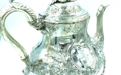 Silver Victorian teapot with rococo and garland decoration t...