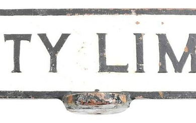 TWO-SIDED CAST IRON POLE TOP SIGN.