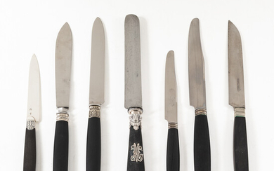 Three Cased Sets and Three Loose Sets of French Ebony-handled Knives