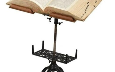 Victorian Cast Iron and Walnut Adjustable Book Stand