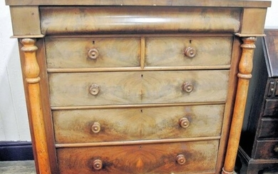 Victorian walnut Scotch chest with frieze drawer, two short ...